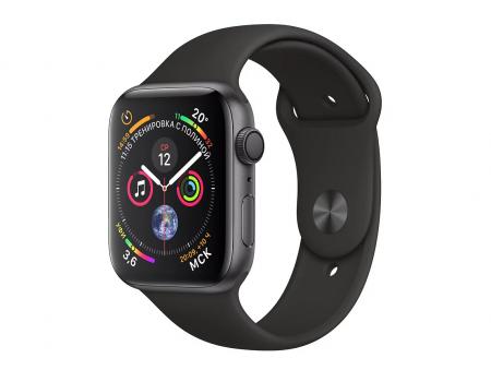 Apple Watch Series 4, 40 мм, корпус из алюминия цвета «серый космос», спортивный ремешок серого цвета