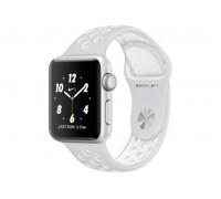 Apple Watch Nike+ 38 мм, корпус из серебристого алюминия, спортивный ремешок Nike цвета «чистая платина/белый»
