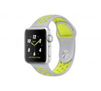 Apple Watch Nike+ 38 мм, корпус из серебристого алюминия, спортивный ремешок Nike цвета «листовое серебро/салатовый»