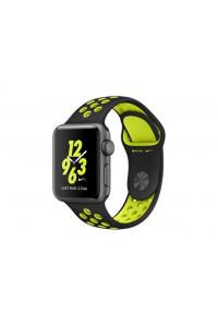 Apple Watch Nike+ 38 мм, корпус из алюминия цвета «серый космос», спортивный ремешок Nike цвета «чёрный/салатовый»