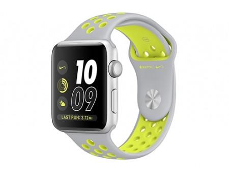 Apple Watch Nike+ 42 мм, корпус из серебристого алюминия, спортивный ремешок Nike цвета «листовое серебро/салатовый»