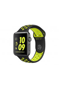 Apple Watch Nike+ 42 мм, корпус из алюминия цвета «серый космос», спортивный ремешок Nike цвета «чёрный/салатовый»